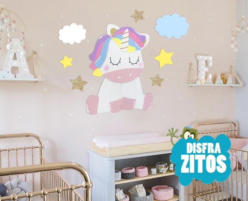 Foto mural unicornio castillo infantiles for Decoracion habitacion bebe goma eva